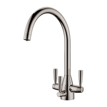 Clearwater Eclipse Triple Lever Mono Kitchen Mixer and Cold Filtered Water Tap - Brushed Nickel