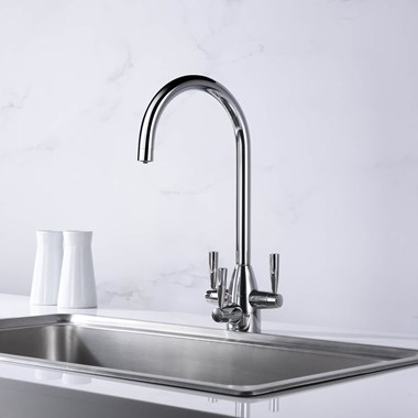 Clearwater Eclipse Triple Lever Mono Kitchen Mixer and Cold Filtered Water Tap - Polished Chrome