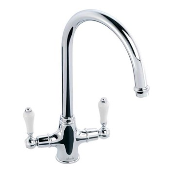 Clearwater Elegance Twin Lever Mono Sink Mixer with Swivel Spout - Chrome