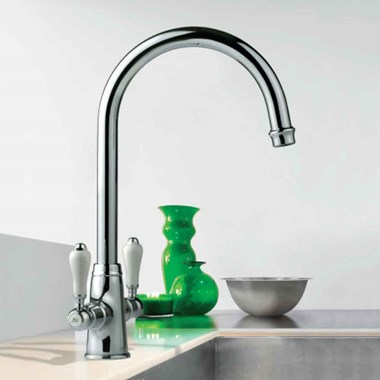 Clearwater Elegance Twin Lever Mono Sink Mixer with Swivel Spout