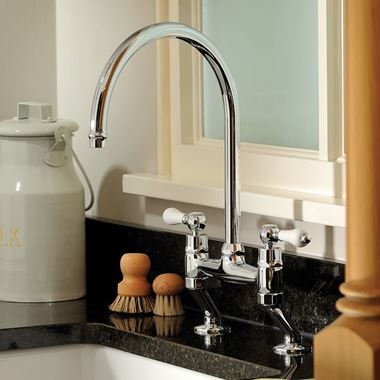Clearwater Elegance Twin Lever Bridge Sink Mixer with Swivel Spout