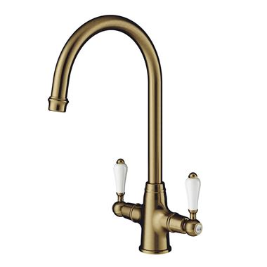 Clearwater Elegance Twin Lever Mono Sink Mixer with Swivel Spout - Antique Bronze