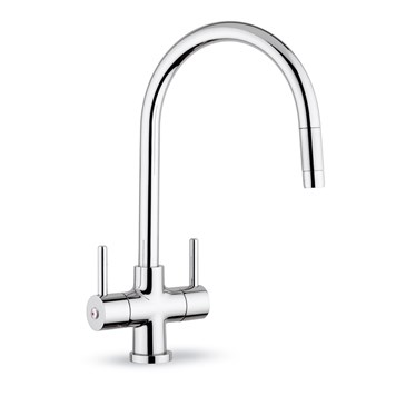 Clearwater Emporia Twin Lever Mono Sink Mixer with Swivel Spout & Pull Out Aerator - Chrome