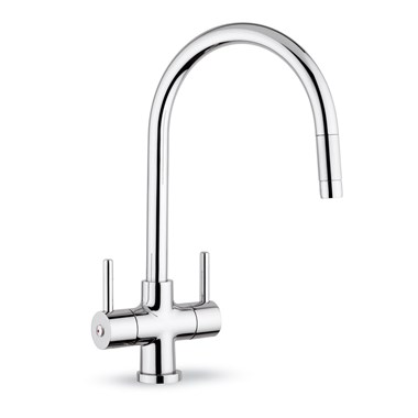 Clearwater Emporia Twin Lever Mono Sink Mixer With Swivel Spout & Pull Out Aerator