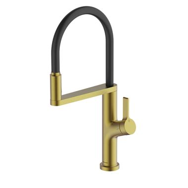 Clearwater Galex Single Lever Mono Pull Out Kitchen Mixer and Cold Filtered Water Tap - Brushed Brass