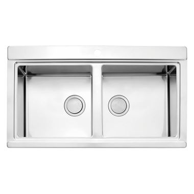 Clearwater Glacier Double Bowl Brushed Stainless Steel Sink & Waste - 897 x 510mm