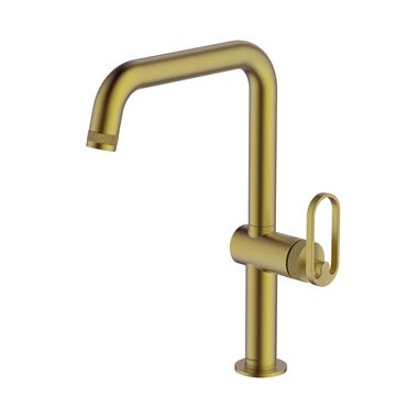 Clearwater Juno Single Lever Industrial-Style Mono Kitchen Mixer Tap - Brushed Brass