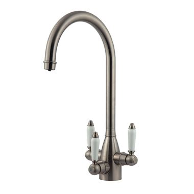 Clearwater Krypton Triple Lever Mono Kitchen Mixer and Cold Filtered Water Tap - Brushed Nickel