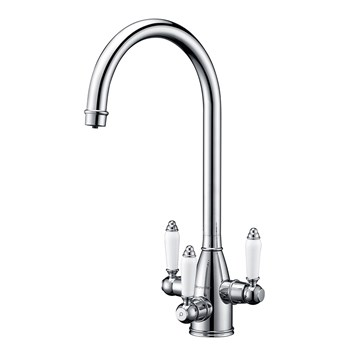Clearwater Krypton Triple Lever Mono Kitchen Mixer and Cold Filtered Water Tap - Polished Chrome