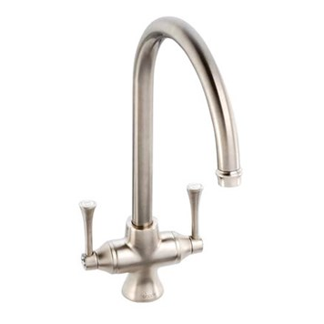 Clearwater Regent Twin Lever Mono Sink Mixer with Swivel Spout - Brushed Nickel