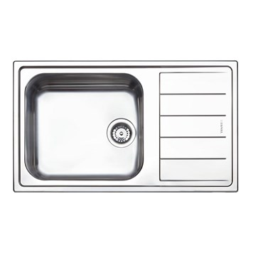 Clearwater Linear Single Bowl Brushed Stainless Steel Sink & Left Hand Drainer