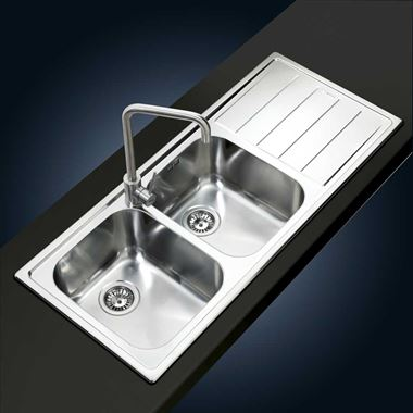 Clearwater Linear Double Bowl Brushed Stainless Steel Sink & Wastes - 1160 x 500mm