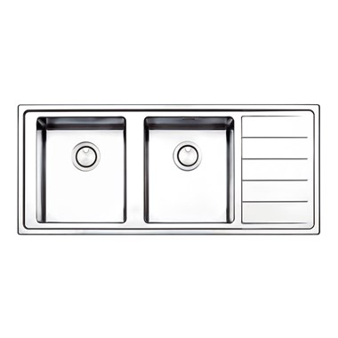 Clearwater Linear Plus Double Bowl Brushed Stainless Steel Sink & Left Hand Drainer