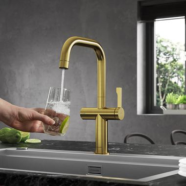 Clearwater Mariner Single Lever Mono Kitchen Mixer and Cold Filtered Water Tap - Brushed Brass