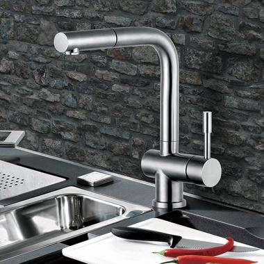 Clearwater Mercury Single Lever Monobloc Kitchen Mixer Pull-Out Spray - Stainless Steel