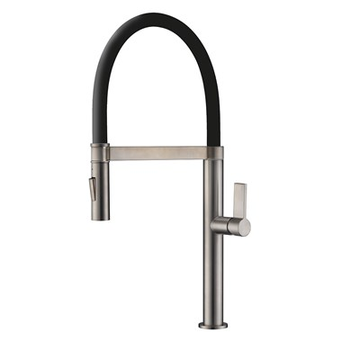 Clearwater Meridian Twin Flow Single Lever Mono Kitchen Tap with Detachable Spout - Brushed Nickel/Black
