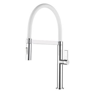 Clearwater Meridian Twin Flow Single Lever Mono Kitchen Tap with Detachable Spout - Chrome/White