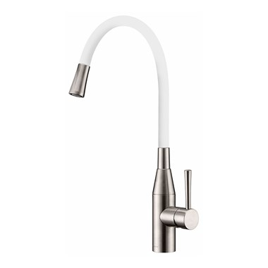 Clearwater Morpho Mono Kitchen Mixer with 'Flex & Stay' Swivel Spout - Brushed Nickel & White Hose