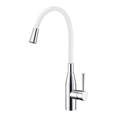 Clearwater Morpho Mono Kitchen Mixer with 'Flex & Stay' Swivel Spout - Polished Chrome & White Hose