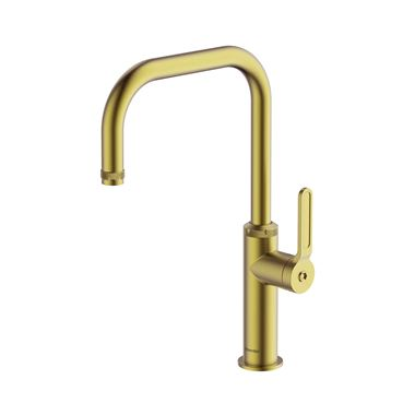 Clearwater Pioneer Single Lever Industrial-Style Mono Kitchen Mixer Tap - Brushed Brass