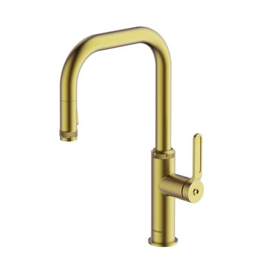 Clearwater Pioneer Single Lever Industrial-Style Mono Pull Out Kitchen Mixer Tap - Brushed Brass