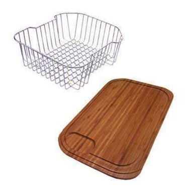Clearwater Stainless Steel Basket & Wooden Chopping Board for Bolero Single Bowl Stainless Steel Sink