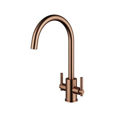 Clearwater Rococo Twin Lever Mono Kitchen Mixer - Regency Copper