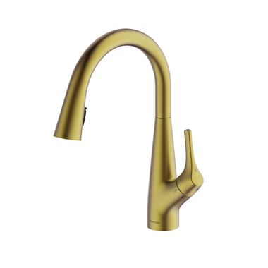 Clearwater Rosetta Single Lever Mono Pull Out Kitchen Mixer and Cold Filtered Water Tap - Brushed Brass