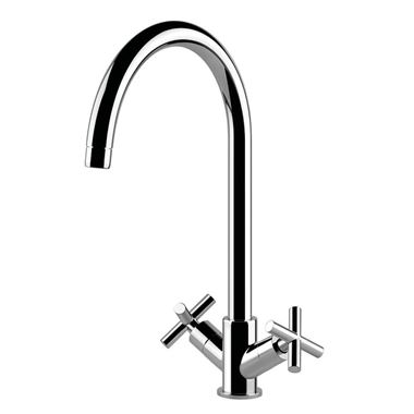 Clearwater Rossi Twin Cross Handle Mono Sink Mixer with Swivel Spout