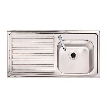 Clearwater Contract Topmount 0.7mm Gauge 1 Bowl Stainless Steel Sink & Left Hand Drainer - 1 Tap Hole