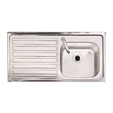 Clearwater Contract Topmount 0.7mm Gauge 1 Bowl Stainless Steel Sink - 1 Tap Hole - Right Hand Drainer