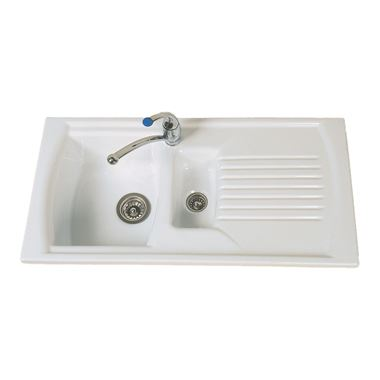 Clearwater Sonnet White Ceramic 1.5 Bowl Sink & Drainer - Reversible
