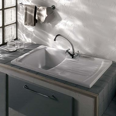 Clearwater Sonnet White Ceramic Single Bowl Sink & Drainer - Reversible