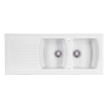 Clearwater Sonnet White Ceramic Double Bowl Sink with Reversible Drainer - 1200 x 500mm