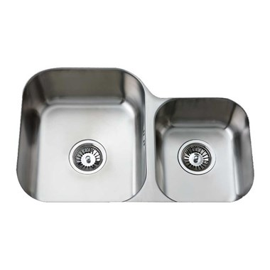 Clearwater Tango 1.75 Bowl Brushed Steel Undermount Sink with Waste - Right Hand Bowl