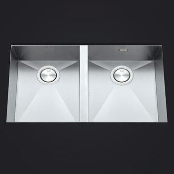 Clearwater Stark Double Bowl Brushed Stainless Steel Undermount Sink & Waste - 800 x 430mm