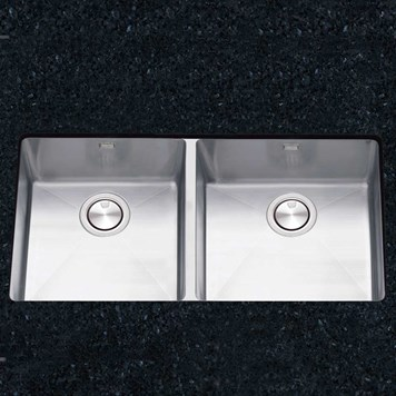 Clearwater Stereo Double Bowl Brushed Stainless Steel Undermount Sink & Waste - 800 x 430mm