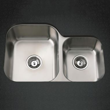 Clearwater Tango 1.75 Bowl Brushed Stainless Steel Undermount Sink & Waste - 695 x 460mm