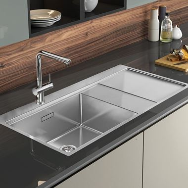 Clearwater Xeron 105 Single Bowl Brushed Stainless Steel Sink & Waste - 1000 x 520mm