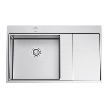 Clearwater Xeron 86 Single Bowl Brushed Stainless Steel Sink & Waste with Right Hand Drainer - 860 x 520mm