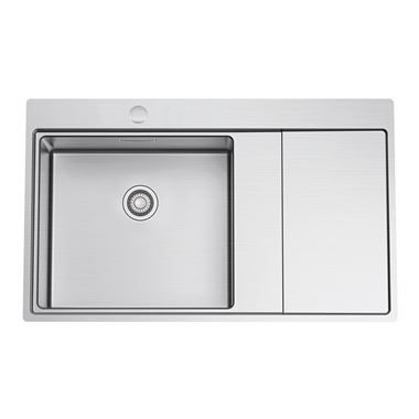 Clearwater Xeron 86 Single Bowl Brushed Stainless Steel Sink & Waste - 860 x 520mm