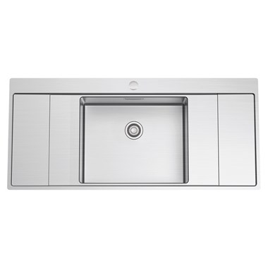 Clearwater Xeron B50 Single Bowl Brushed Stainless Steel Sink with Double Drainer & Waste - 1160 x 520mm
