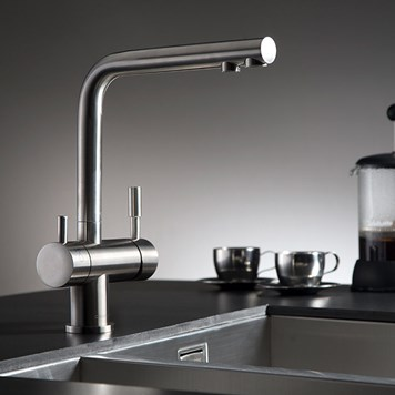 Clearwater Zuben Mono Kitchen Mixer with Swivel Spout and Filtered Cold Water - Stainless Steel