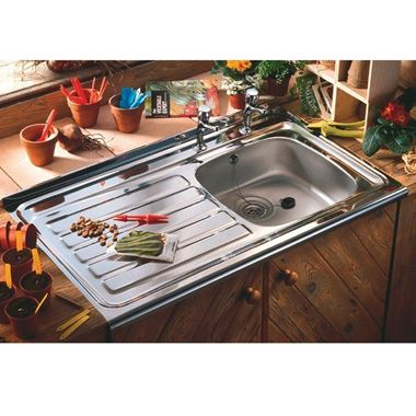 Clearwater Contract Lay-On Single Bowl Stainless Steel Sink with 2 Tap Holes & Roll Front - 1000 x 500mm