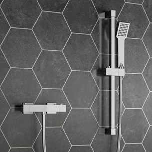 Comino Square Thermostatic Bar Shower Valve & Slide Rail Kit