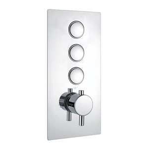 Harbour Push Button 3 Outlet WRAS Approved Round Concealed Shower Valve