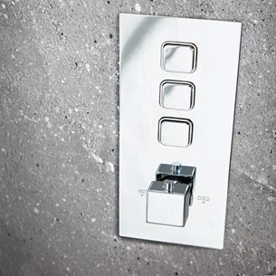 Harbour Push Button Triple Square Concealed Shower Valve