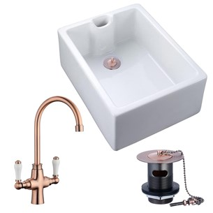 Butler & Rose Ceramic Fireclay Belfast Kitchen Sink with Elizabeth Traditional Mono Kitchen Mixer And Waste - Antique Copper