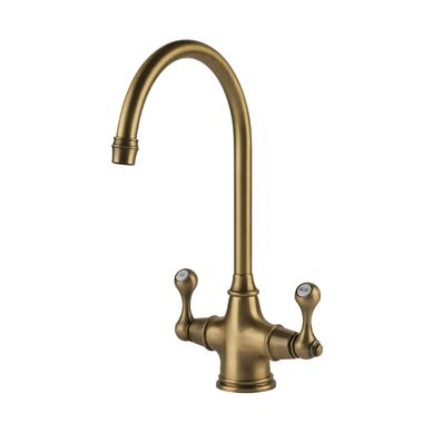 Clearwater Coriolis Traditional Twin Lever Mono Kitchen Mixer - Brushed Bronze
