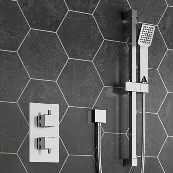 Corsica Square Concealed Thermostatic Shower Valve & Slide Rail Kit